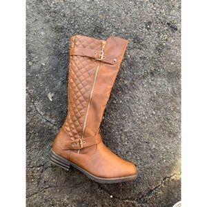 Last Few! Women Quilt Tan Knee High Boots